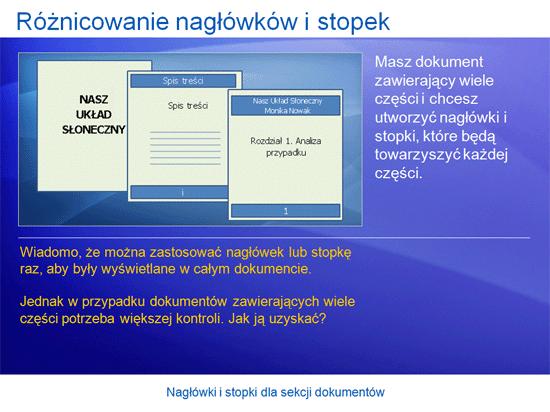 Prezentacja szkoleniowa: Word 2007 — nagłówki i stopki dla sekcji dokumentów
