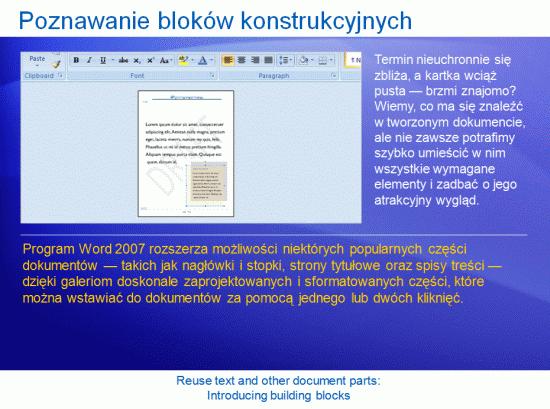 Prezentacja szkoleniowa: Word 2007 — Ponowne używanie tekstu i innych części dokumentów. Wprowadzenie do bloków konstrukcyjnych