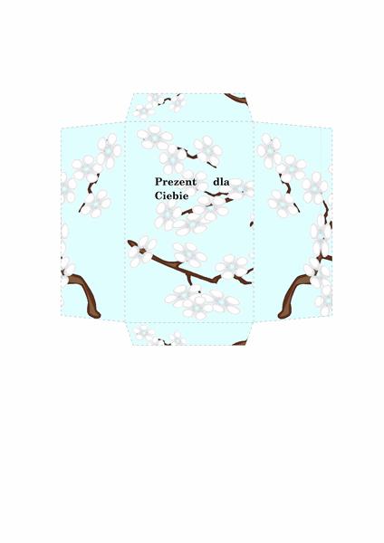 Koperta na pieniądze (wzór roślinny, niebieski)