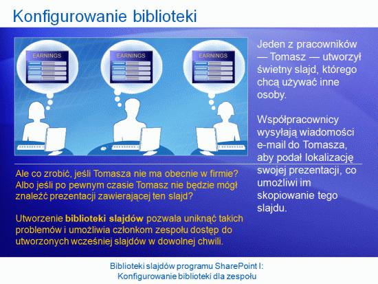 Prezentacja szkoleniowa: SharePoint Server 2007 — biblioteki slajdów I. Konfigurowanie biblioteki dla zespołu