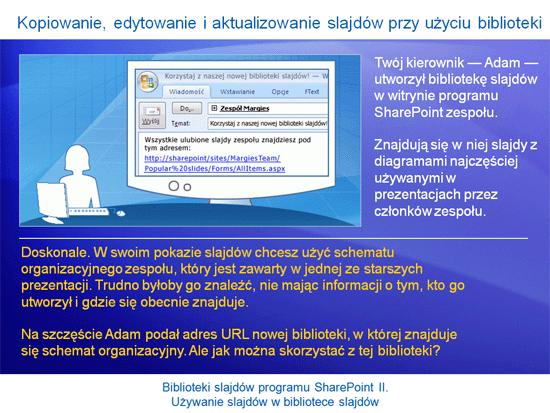 Prezentacja szkoleniowa: SharePoint Server 2007 — Biblioteki slajdów II. Używanie slajdów w bibliotece slajdów