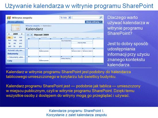 Prezentacja szkoleniowa: SharePoint Server 2007 — Kalendarze I. Korzystanie z zalet kalendarza zespołu