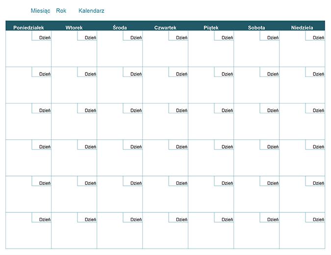 Kalendarz miesięczny — pusty