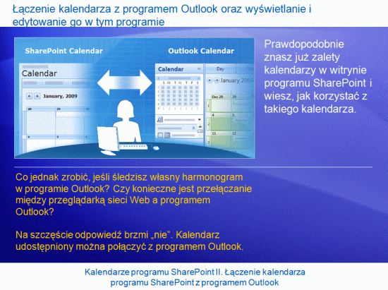 Prezentacja szkoleniowa: SharePoint Server 2007 — kalendarze II. Łączenie kalendarza programu SharePoint z programem Outlook
