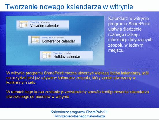 Prezentacja szkoleniowa: SharePoint Server 2007 — kalendarze III. Tworzenie własnego kalendarza