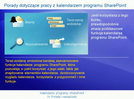 Prezentacja szkoleniowa: SharePoint Server 2007— kalendarze IV. Porady i wskazówki