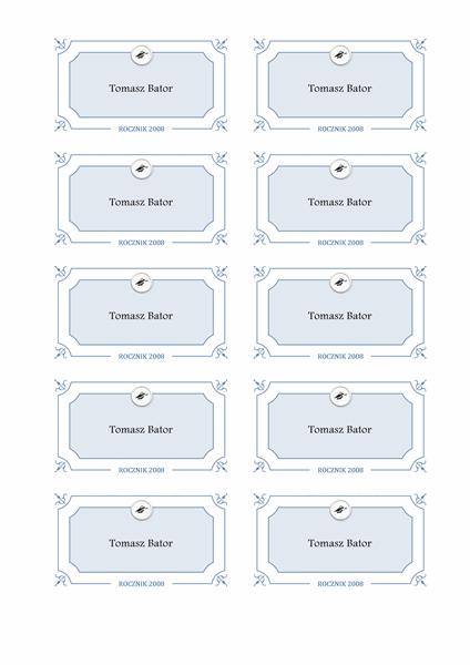 Wręczenie dyplomów — kartki z nazwiskami (projekt oficjalny)
