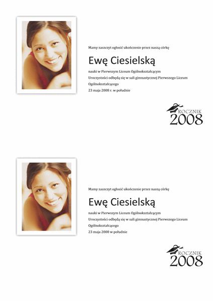 Zawiadomienie o uroczystości wręczenia dyplomów ze zdjęciem (połowa strony)