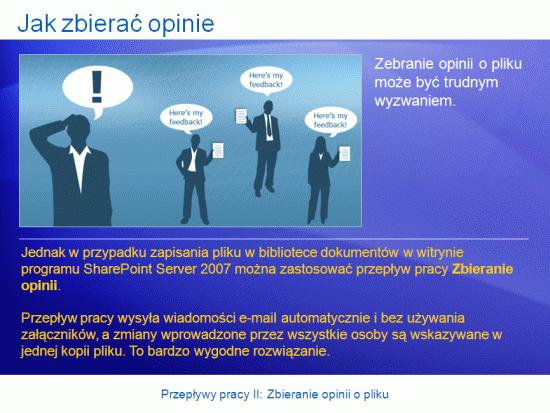 Prezentacja szkoleniowa: SharePoint Server 2007— przepływy pracy II. Zbieranie opinii o pliku