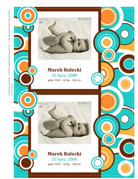 Kartki z informacją o narodzinach dziecka, z fotografią (motyw Kółka)