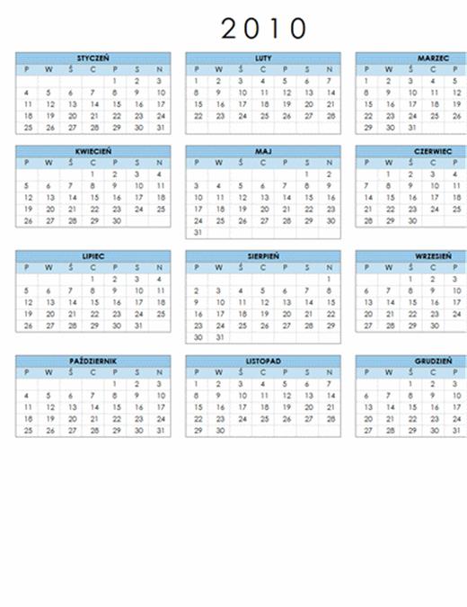 Kalendarz na rok 2010 (1 strona, poziomy, pon.–niedz.)