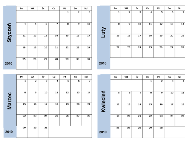 Kalendarz na rok 2010 z niebieskim obramowaniem (3 strony)