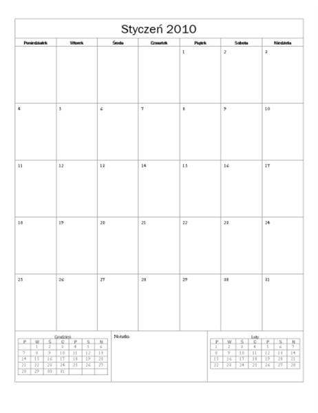 Kalendarz na rok 2010 (projekt podstawowy)