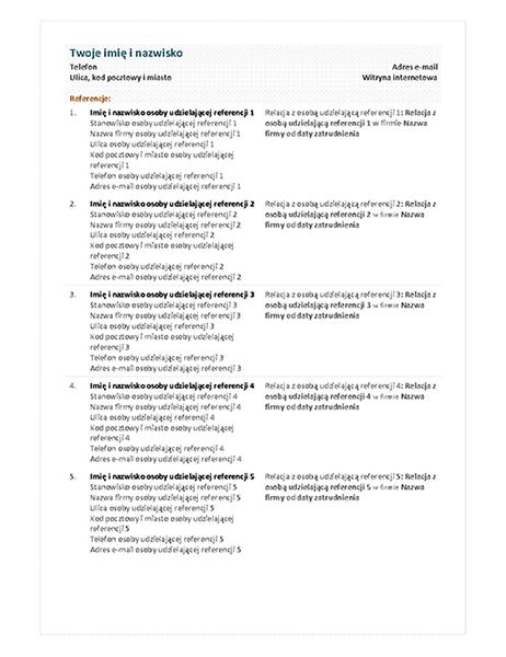 Arkusz referencji do życiorysu funkcjonalnego
