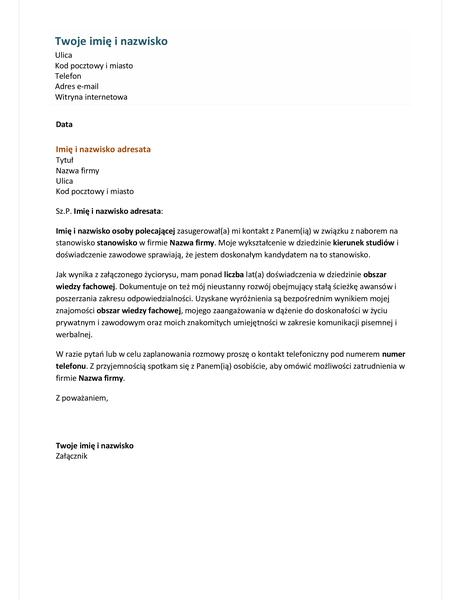 List motywacyjny do życiorysu funkcjonalnego