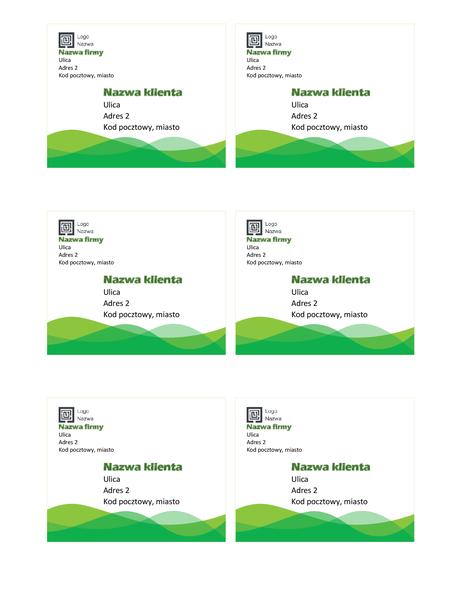 Etykiety wysyłkowe (projekt Zielona fala, 6 na stronie)