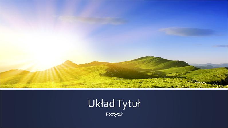 Prezentacja z niebieskimi paskami i motywem natury zawierająca zdjęcie ze wschodem słońca w górach (panoramiczna)