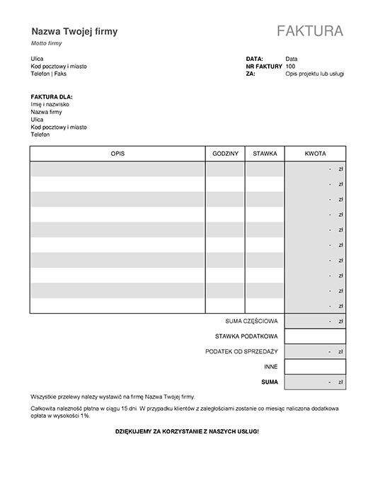 Faktura za usługę z obliczeniem podatku