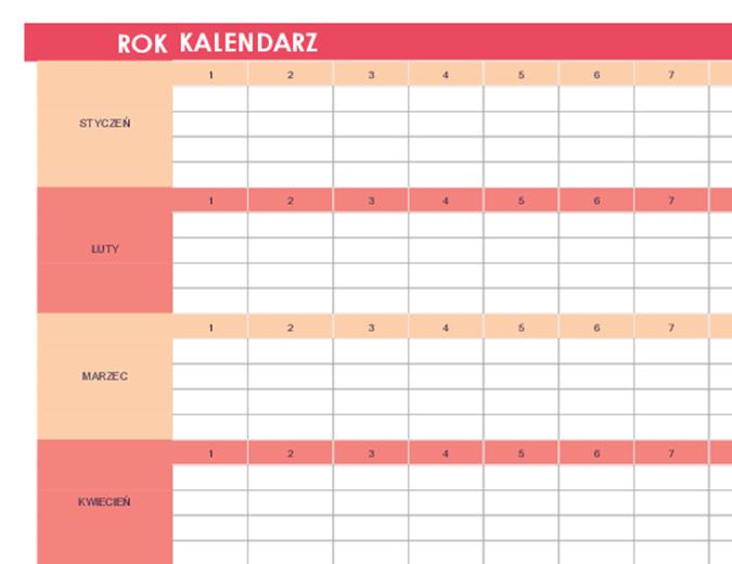 Kalendarz (dowolny rok, poziomy)