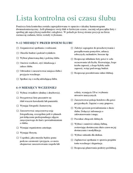 Lista kontrolna osi czasu ślubu