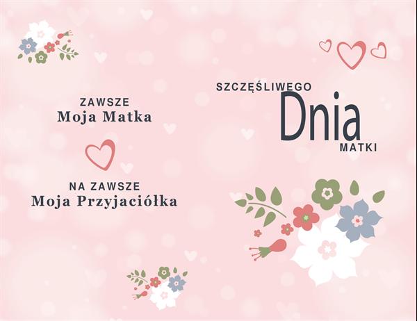 Śliczna różowa karta z okazji Dnia Matki