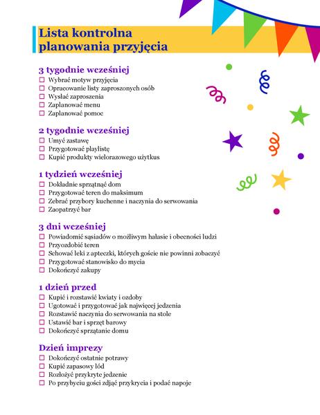 Lista kontrolna planowania przyjęcia