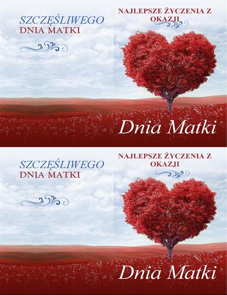 Karta z okazji Dnia Matki z drzewem w kształcie serca