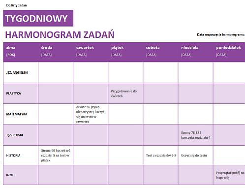 Tygodniowy harmonogram zadań
