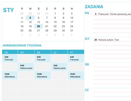 Kalendarz dla uczniów i studentów