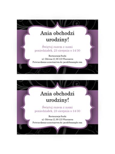 Zaproszenie na przyjęcie (motyw Fioletowa wstążka)