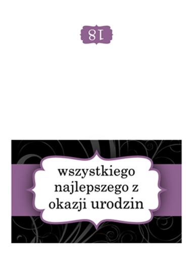 Kartka urodzinowa (projekt Fioletowa wstążka, składana na pół)