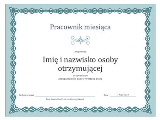 Dyplom Pracownik miesiąca (projekt Niebieski łańcuch)