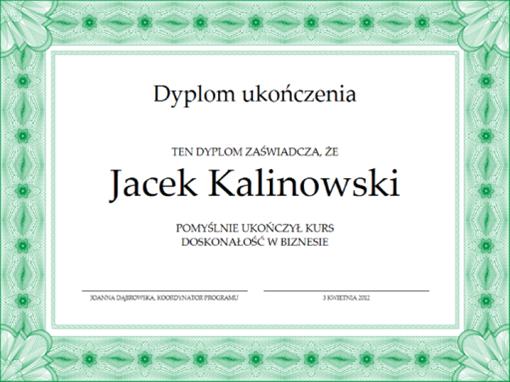 Dyplom ukończenia (zielony)