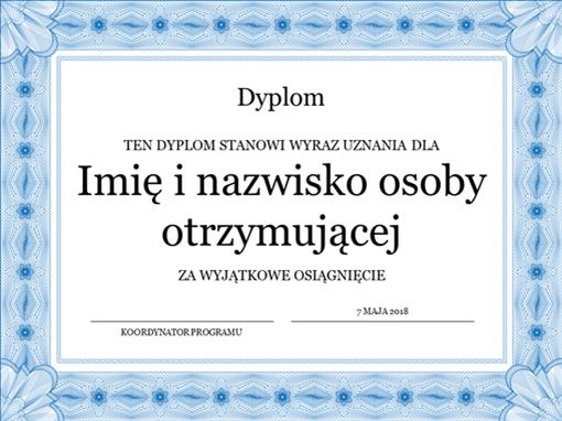 Dyplom (niebieskie obramowanie formalne)