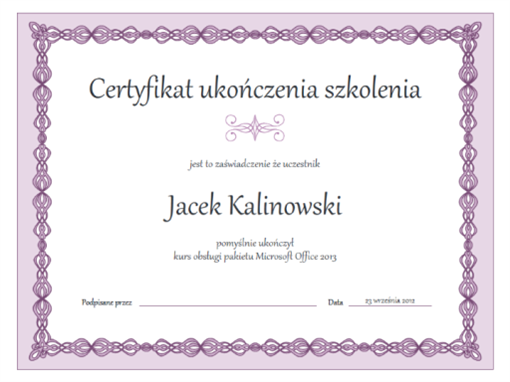 Certyfikat ukończenia szkolenia (projekt Fioletowy łańcuch)