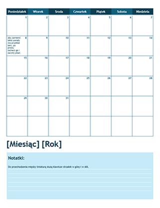 Miesięczny kalendarz akademicki (od poniedziałku)
