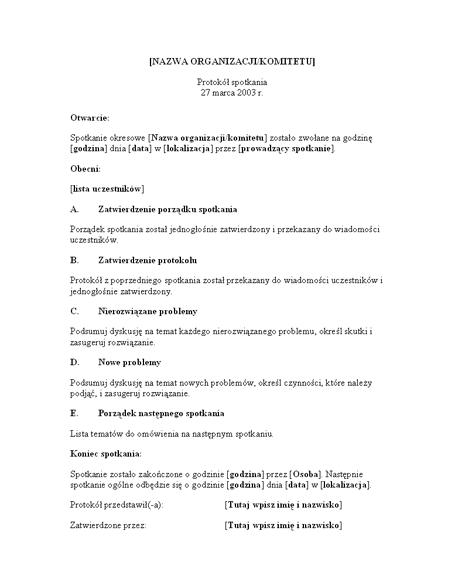 Protokół ze spotkania organizacyjnego (długi formularz)