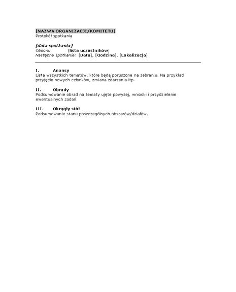 Protokół ze spotkania organizacyjnego (krótki formularz)