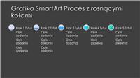 Slajd z grafiką SmartArt Proces z rosnącymi kołami (szaro-niebieską na czarnym tle), panoramiczny