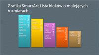 Slajd z grafiką SmartArt Lista bloków o malejących rozmiarach (wielokolorową na szarym tle), panoramiczny