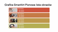 Slajd z grafiką SmartArt Pionowa lista obrazów (wielokolorową na białym tle), panoramiczny