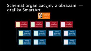 Slajd ze schematem organizacyjnym z obrazami (panoramiczny, wiele kolorów na czarnym tle)