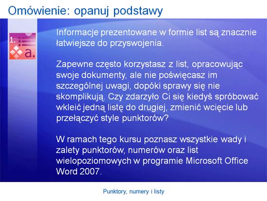 Prezentacja szkoleniowa: Word 2007 — punktory, numery i listy