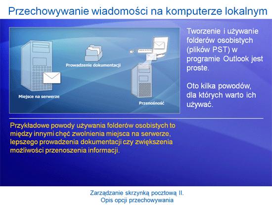Prezentacja szkoleniowa: Outlook 2007 — zarządzanie skrzynką pocztową II. Opis opcji przechowywania