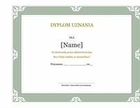 Dyplom uznania dla pracownika administracyjnego