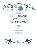 Zaproszenie na przyjęcie świąteczne z niebieskimi i zielonymi ornamentami (motyw Oficjalny)