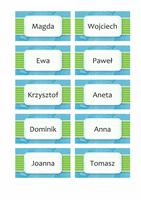 Kartki z imieniem lub miejscem (motyw Chmury, 10 na stronę)