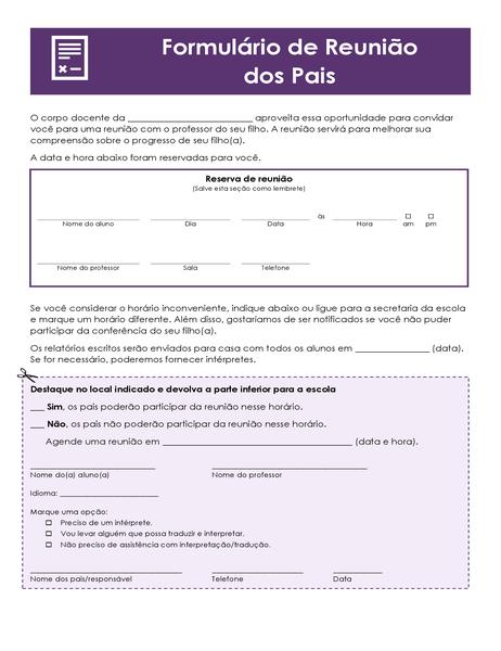 Formulário de conferência dos pais