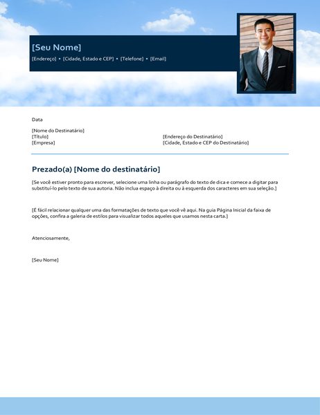 Carta de apresentação com céu azul