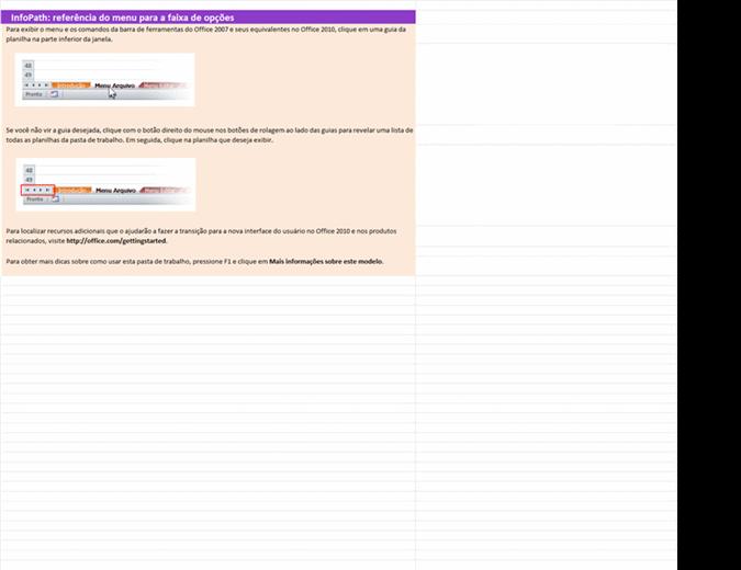 InfoPath 2010: pasta de trabalho de referência do menu para a faixa de opções